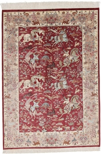 Pure Silk Qom Persian carpets from 400-1500 KPSI