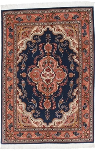 5x3 blue tabriz persian rug with silk