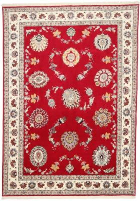 signed 11x8 red silk tabriz rug