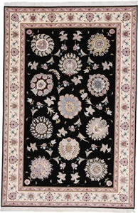 signed 10x6 black silk tabriz rug