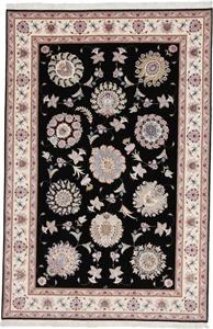 signed 10x6 black silk tabriz rug
