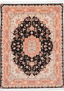 6x5 black tabriz persian rug with silk