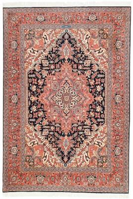 8x5 Tabriz Heriz Persian Rug with silk