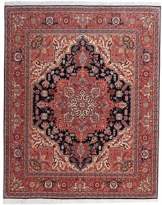 8x6 Tabriz Heriz Persian Rug with silk