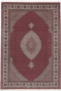 signed 9x6 mahi tabriz rug with silk