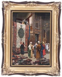 pictorial tabriz persian rug