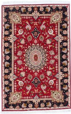 5x3 red tabriz persian rug with silk