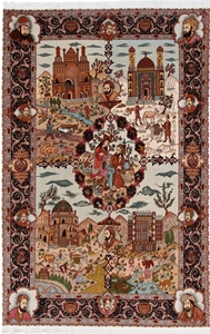 pictorial tabriz rug 4 season design