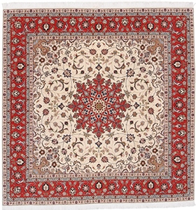 7' (2m) Square Tabriz Persian rug with silk