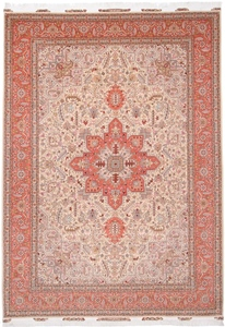 Tabriz Persian rug with silk & Heriz Design