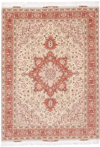 Tabriz Persian rug with silk & Heriz Design