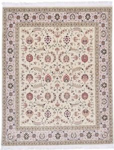 8x6 Silk Foundation Tabriz Persian rug, 400 KPSI 55 Raj handmade Tabriz carpet.