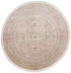 7' 2m Round pure silk Qum Persian rug with 600 KPSI