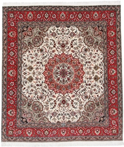 7x6 beige tabriz persian rug with silk