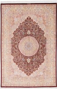 10x7 handmade pure silk Qum Persian rug