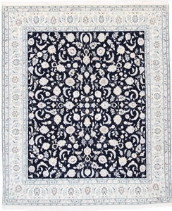 9x8 navy blue nain persian rug