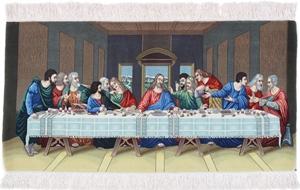 Pictorial Last Supper Tabriz Persian Rug