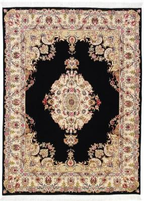 7x5 dark blue tabriz persian rug with silk