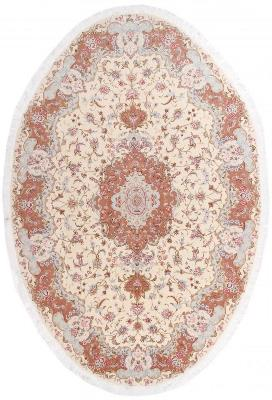 Oval 50Raj 350 KPSI Tabriz Silk Persian Rug