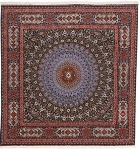 10x10 70raj silk square gonbad tabriz rug