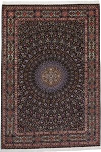 Gonbad Tabriz Persian rug with a silk foundation. 70Raj 11x8 Tabriz Persian carpet with Gonbad Design
