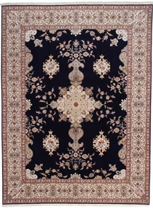 55 Raj Tabriz Persian rug with a silk foundation. 13x10 silk Tabriz Persian carpet