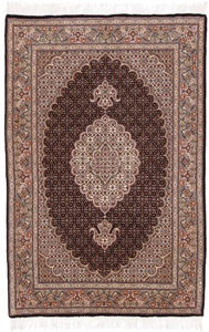 5x3 mahi tabriz persian rug with silk