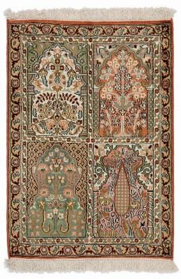 3x2 pictorial silk kashmir persian carpet