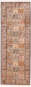 6x2 tile design silk kashmir persian rug runner