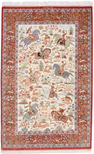 Silk Qum hunting rug, Pictorial hunting Qom Persian carpet