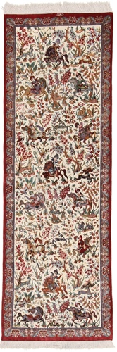 6x2 pictorial hunting qum runner rug