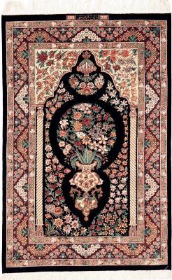 4x3 signed silk qum persian rug