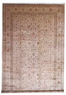 25x14 brown beige silk kashmir persian rug