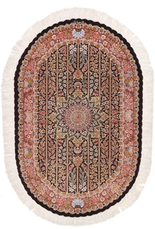 4x2 oval silk qom persian rug