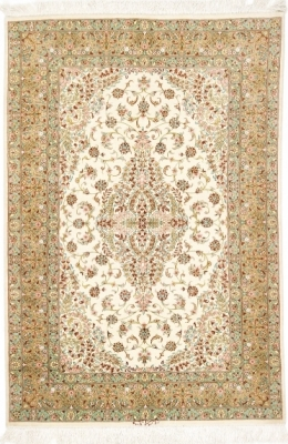 4x3 silk handmade qum persian rug