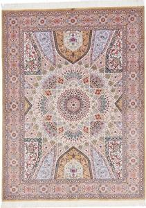 rare gonbad tabriz silk persian rug