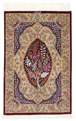 3x2 750KPSI Tree-of-Life silk qum Persian rug, signed qom carpet