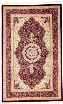 8x5 handmade pure silk Qum Persian rug