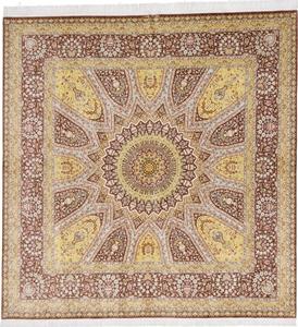 square gonbad qom persian rug