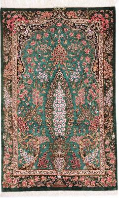3x2 800kpsi green silk qom carpet