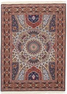 7x5 Gonbad Tabriz Persian rug. Dome Design Gombad Tabriz Persian carpet.