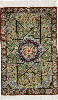 Pure Silk Gonbad 3x2 Qum Persian rug