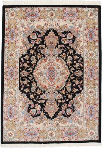 7x5 black 400kpsi silk tabriz rug