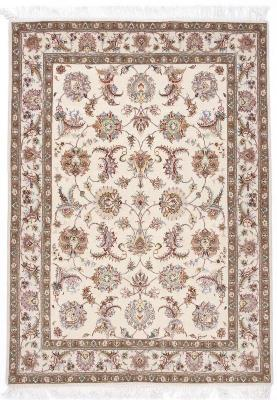 6x5 beige tabriz persian rug with silk