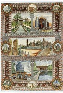 Historical Pictorial Large Tabriz Silk Persian Rug