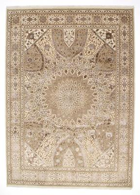 11x8 gonbad persian rug with silk