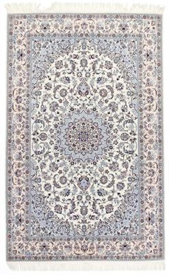 8x5 beige silk nain persian rug
