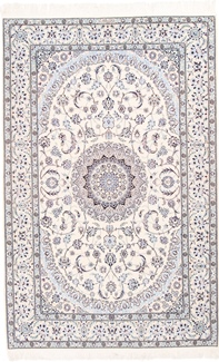 7x5 signed silk nain persian carpet