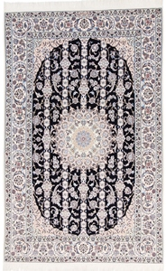 8x5 Blue Nain 6Lah Persian rug. Very fine Nain Persian carpet with lots of silk highlights.