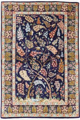 4x3 pictorial tree of life qum persian rug